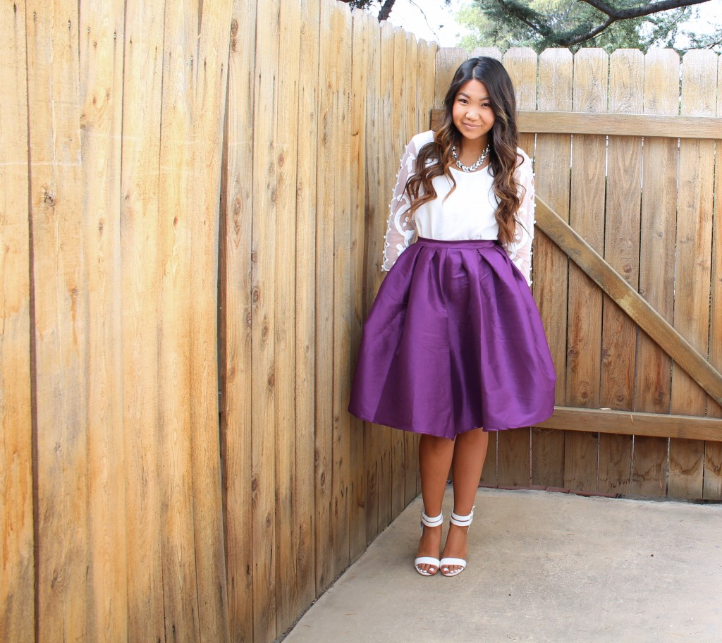 Purple Flare Pleated Skirt