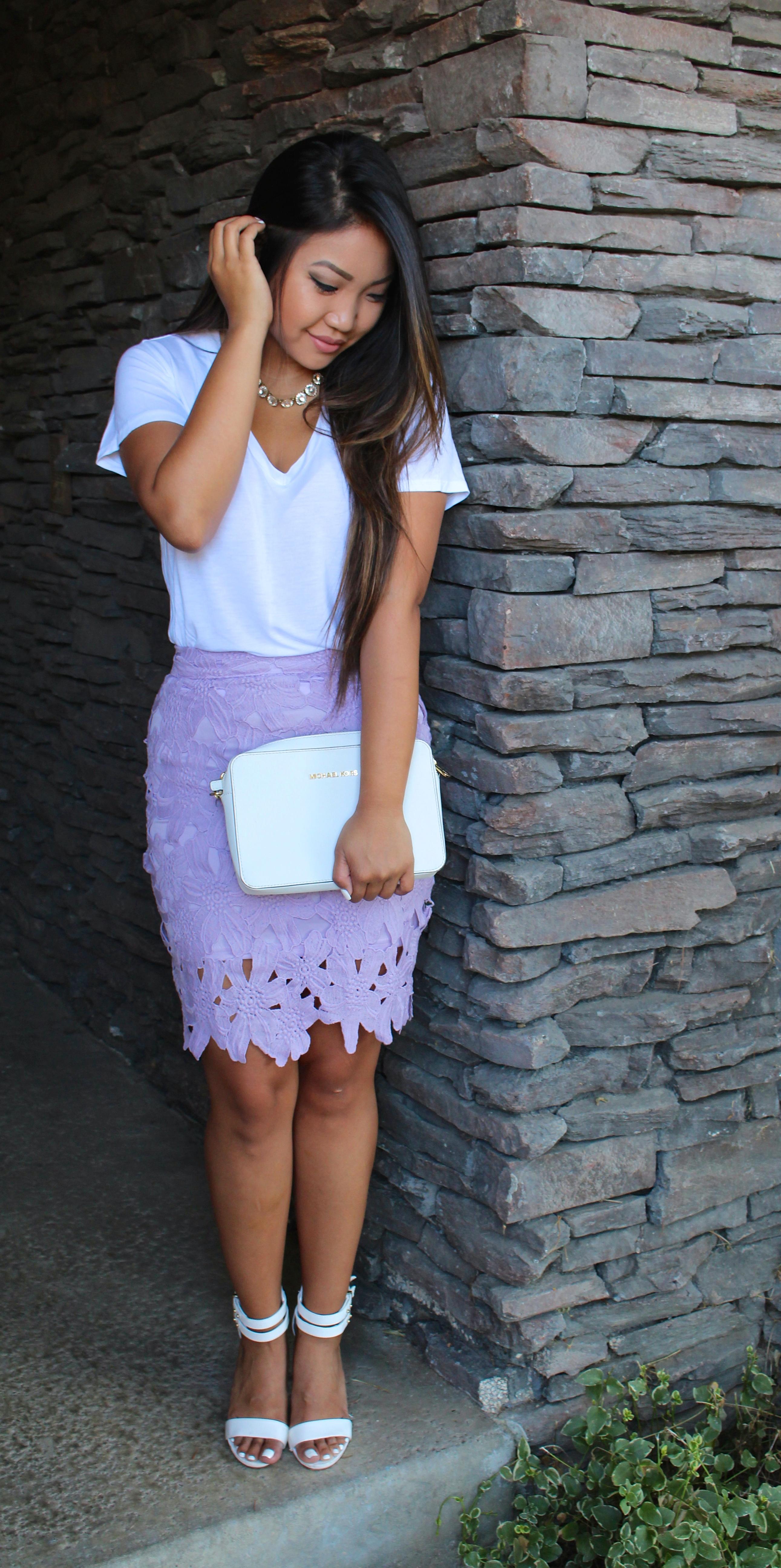 Cut Out Lace Pencil Skirt