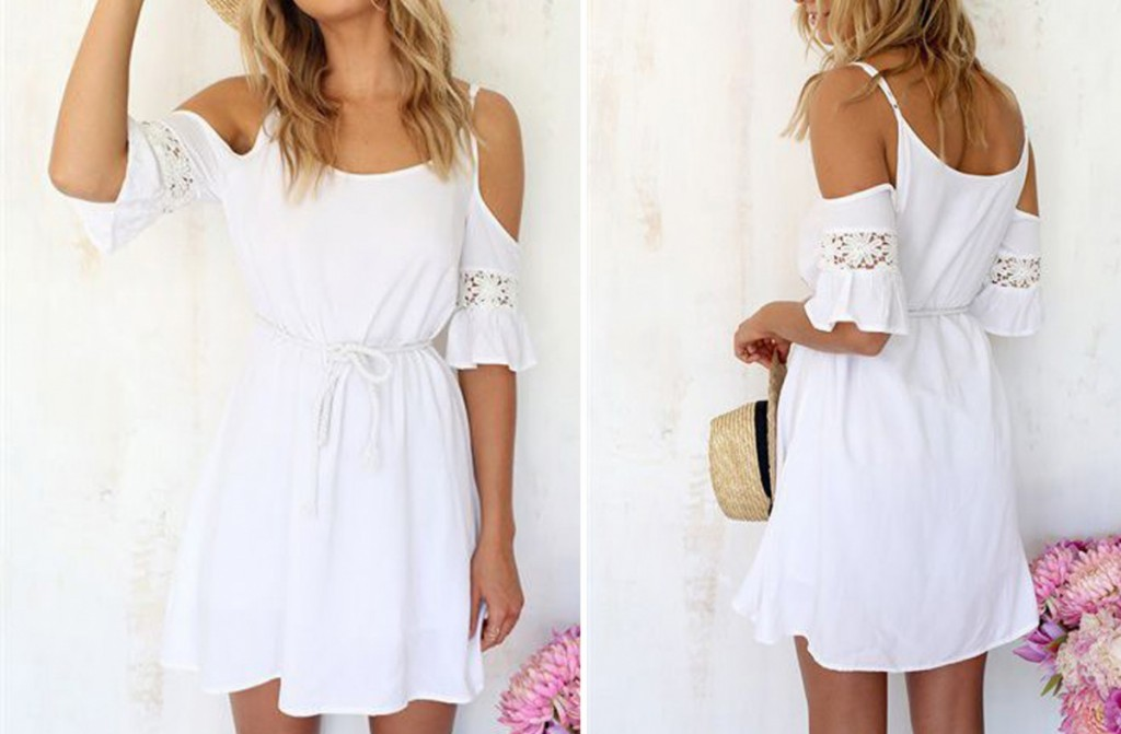 White Chiffon and Lace Open Shoulder Dress