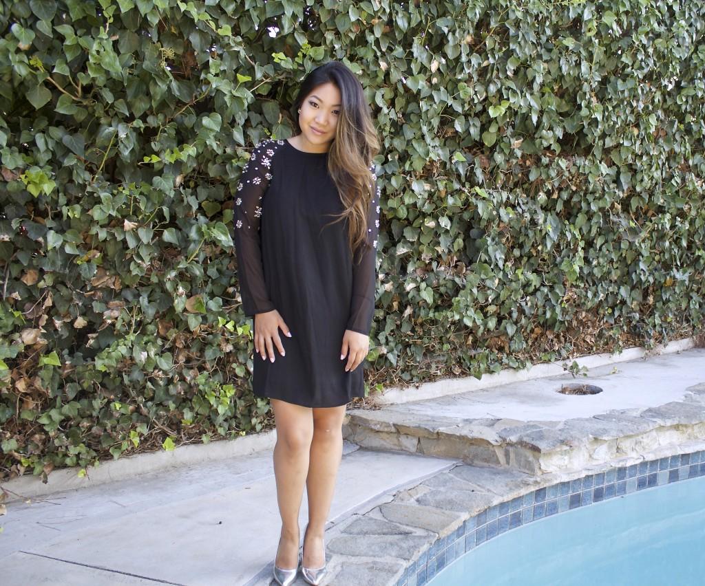 Black Jeweled Shift Dress