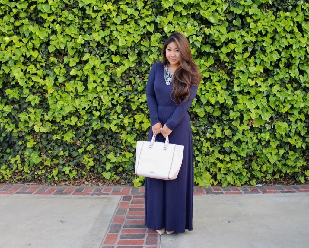 Navy Blue Long Sleeve Maxi Dress