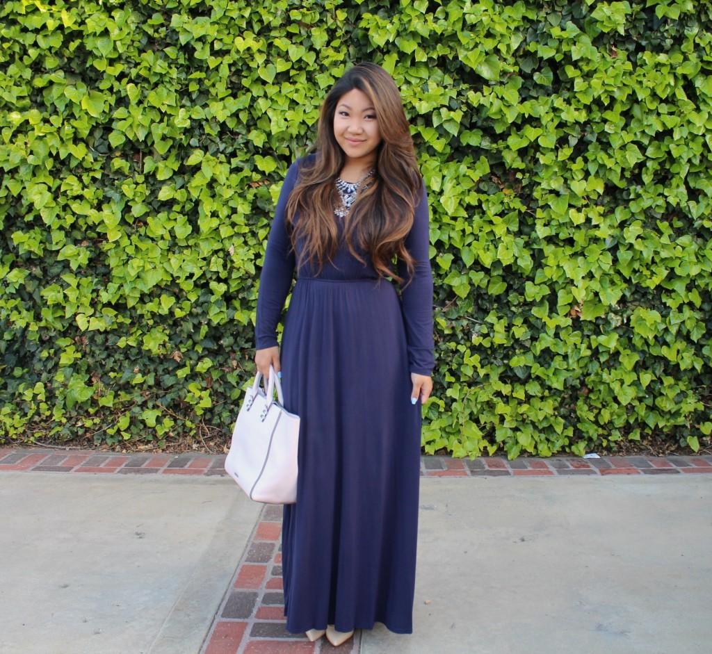 Sunday Best - Navy Blue Long Sleeve Maxi Dress
