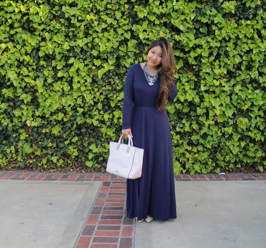 Tia Wong - Navy Blue Long Sleeve Maxi Dress