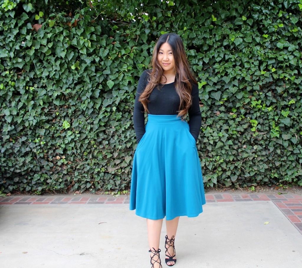 Tia Wong - Teal Skater Skirt