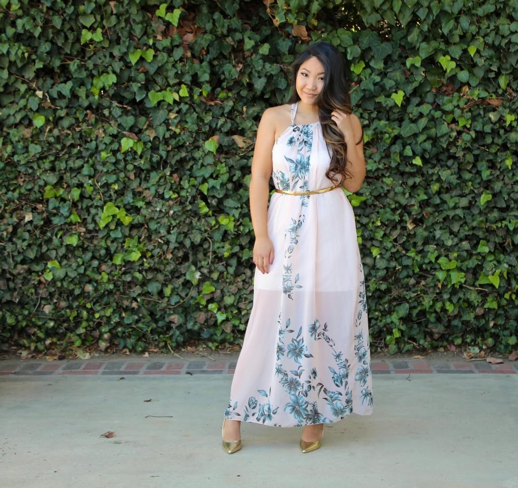 Tia Wong - Pink Floral Maxi Dress