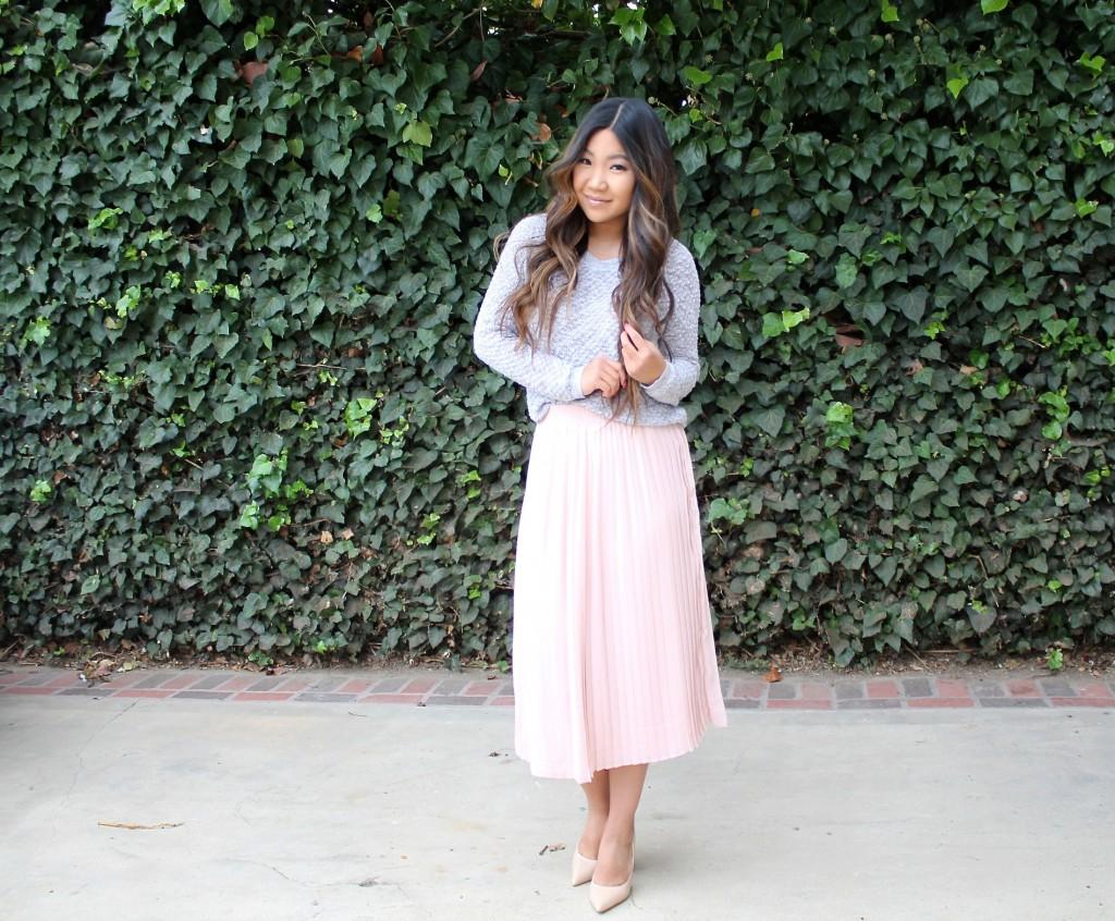 Tia Wong - Pink Pleated Midi Skirt