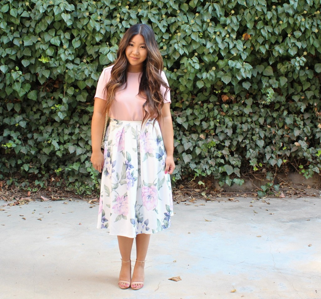 Tia Wong - Church outfit - Floral Midi Flare Skirt