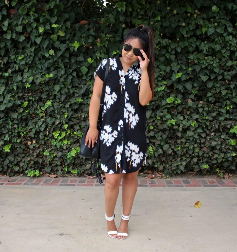 Tia Wong - Summer Dress - Black V Neck Floral Print Dress