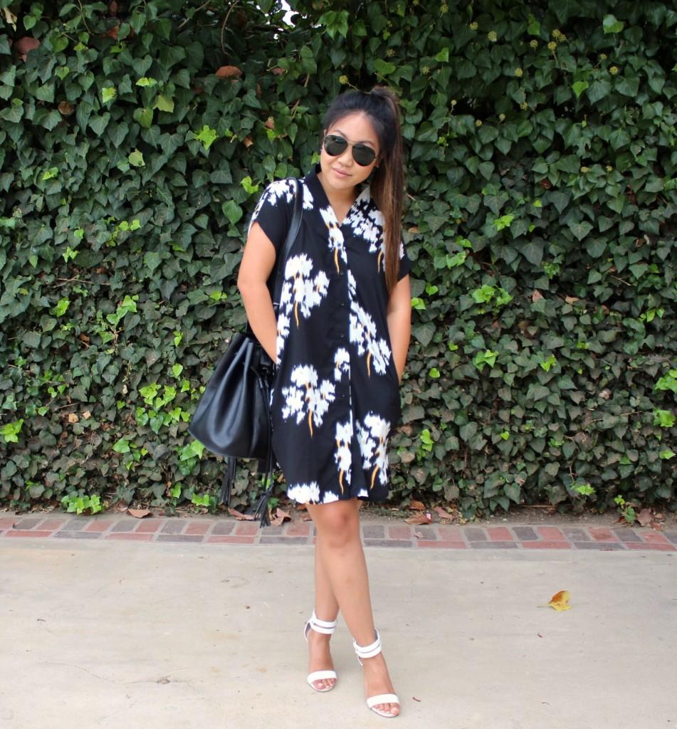Tia Wong - Summer Floral Dress - Black V Neck Floral Print Dress