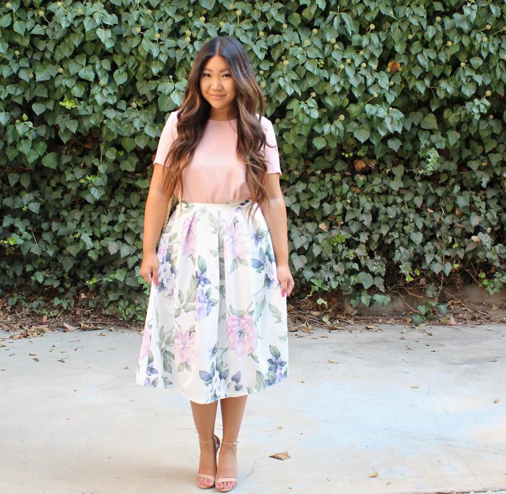 Tia Wong - Floral Midi Flare Skirt