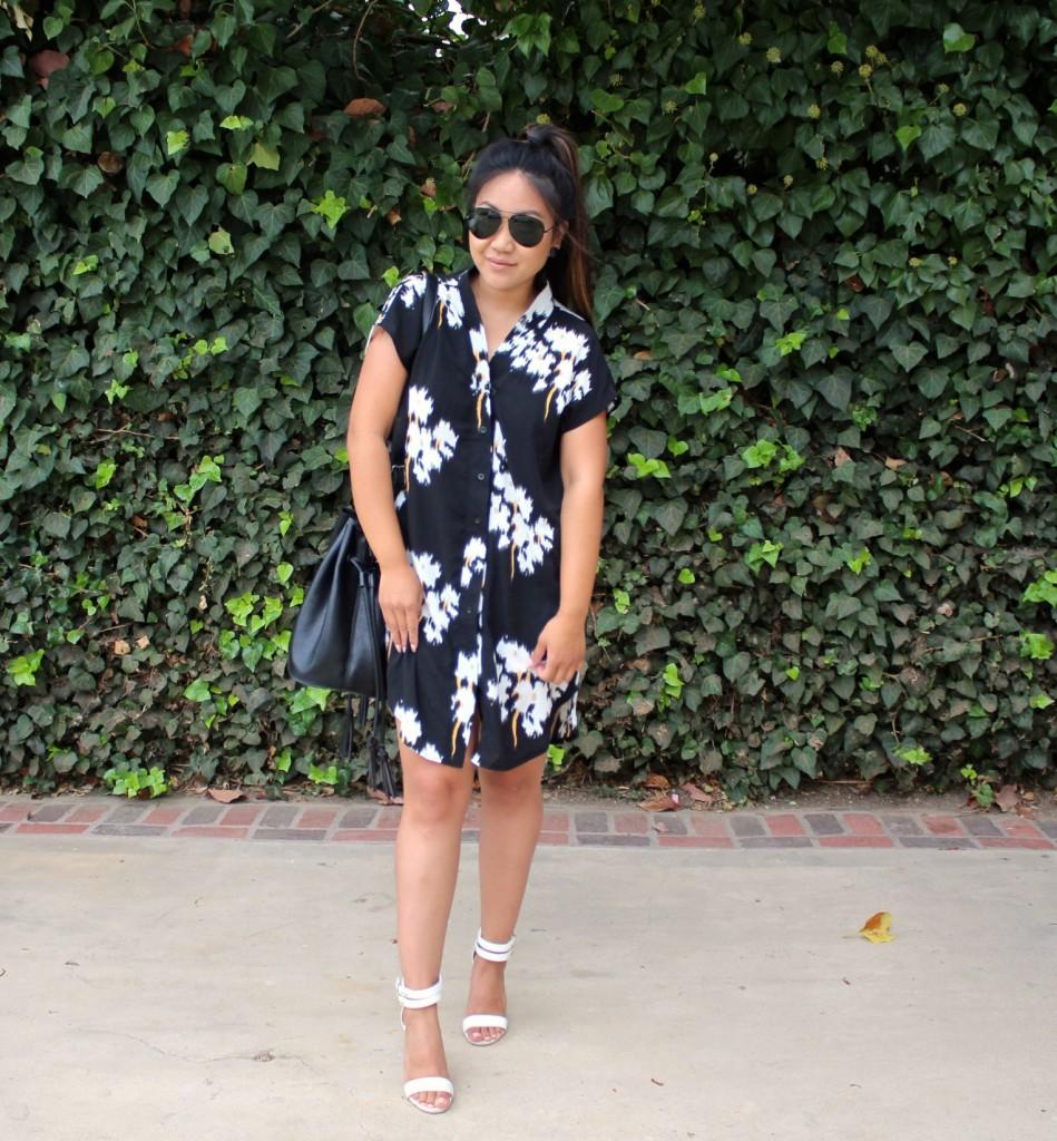 Tia Wong - Black V Neck Floral Print Dress