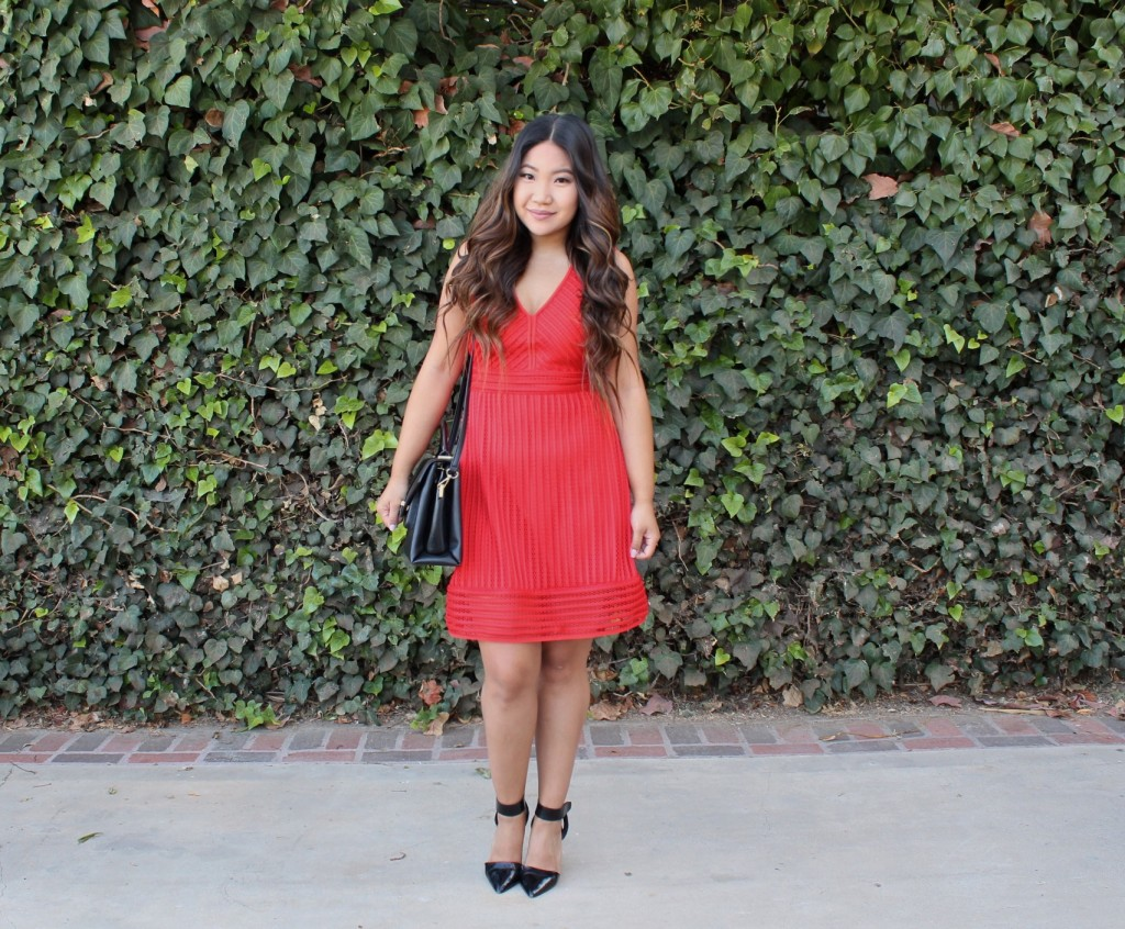 Church Outfit - Red Striped Eyelet Dress
