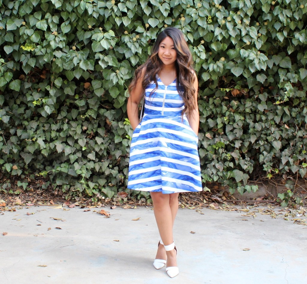 Church Outfit - White Blue Striped Front Zip Flare Dress