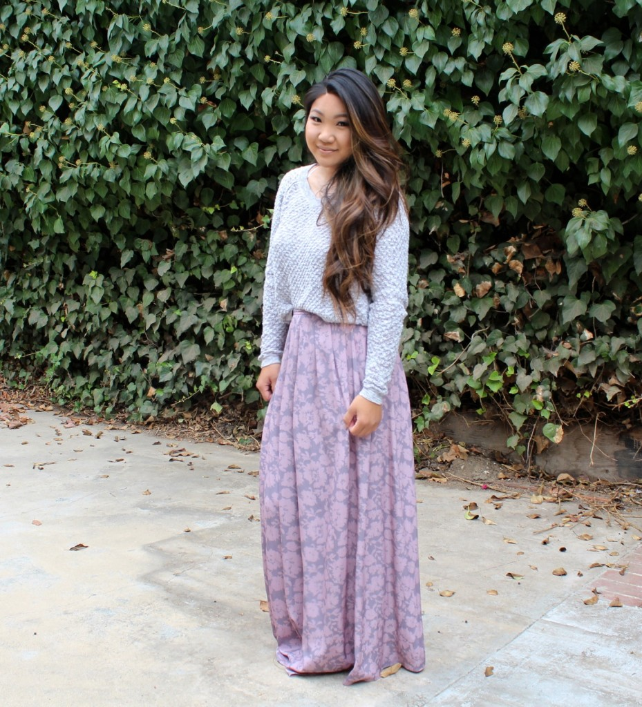 Church outfit - Painted Threads Floral Maxi Skirt