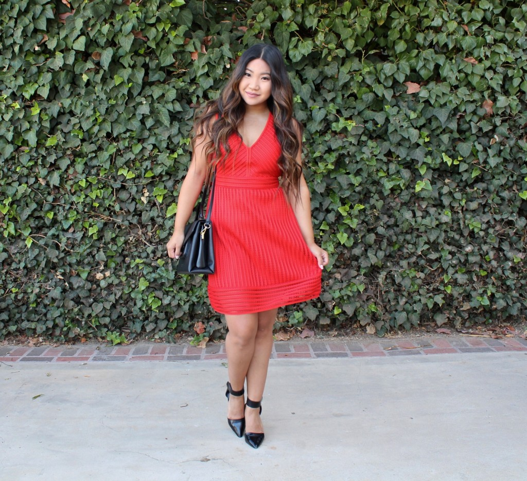 J Crew Red Dress - Red Striped Eyelet Dress