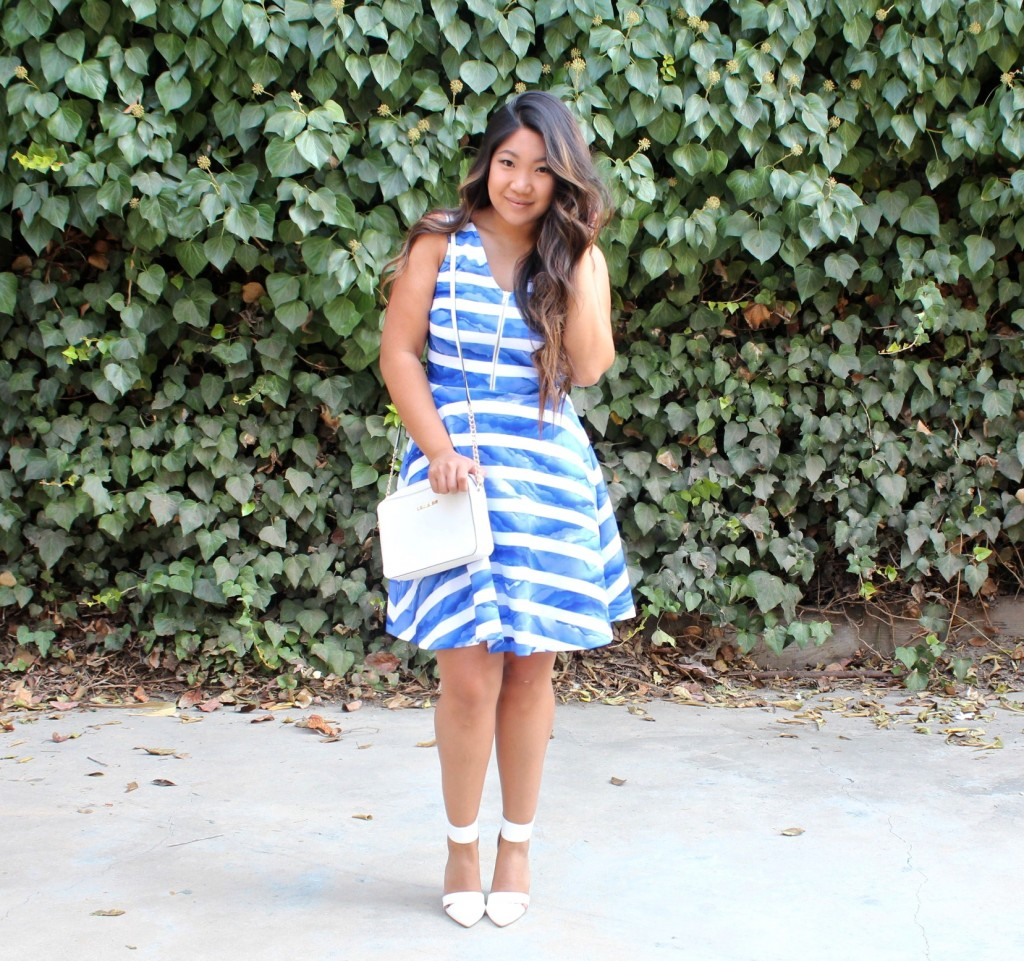 Sunday Best - White Blue Striped Front Zip Flare Dress