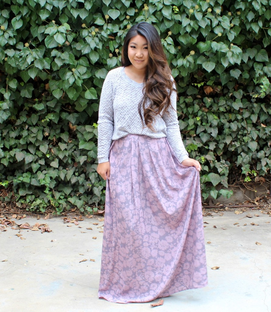 Tia Wong - Painted Threads Floral Maxi Skirt
