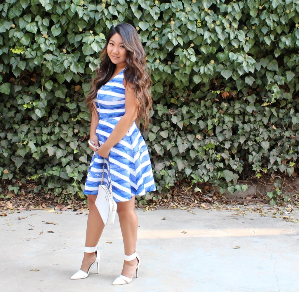 Tia Wong - White Blue Striped Front Zip Flare Dress