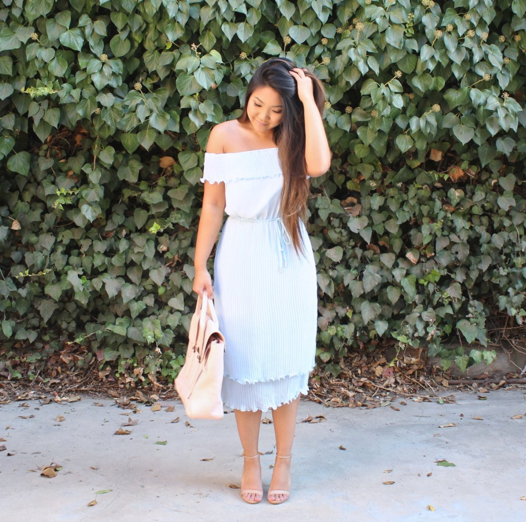 blue-off-the-shoulder-ruffle-tie-waist-dress