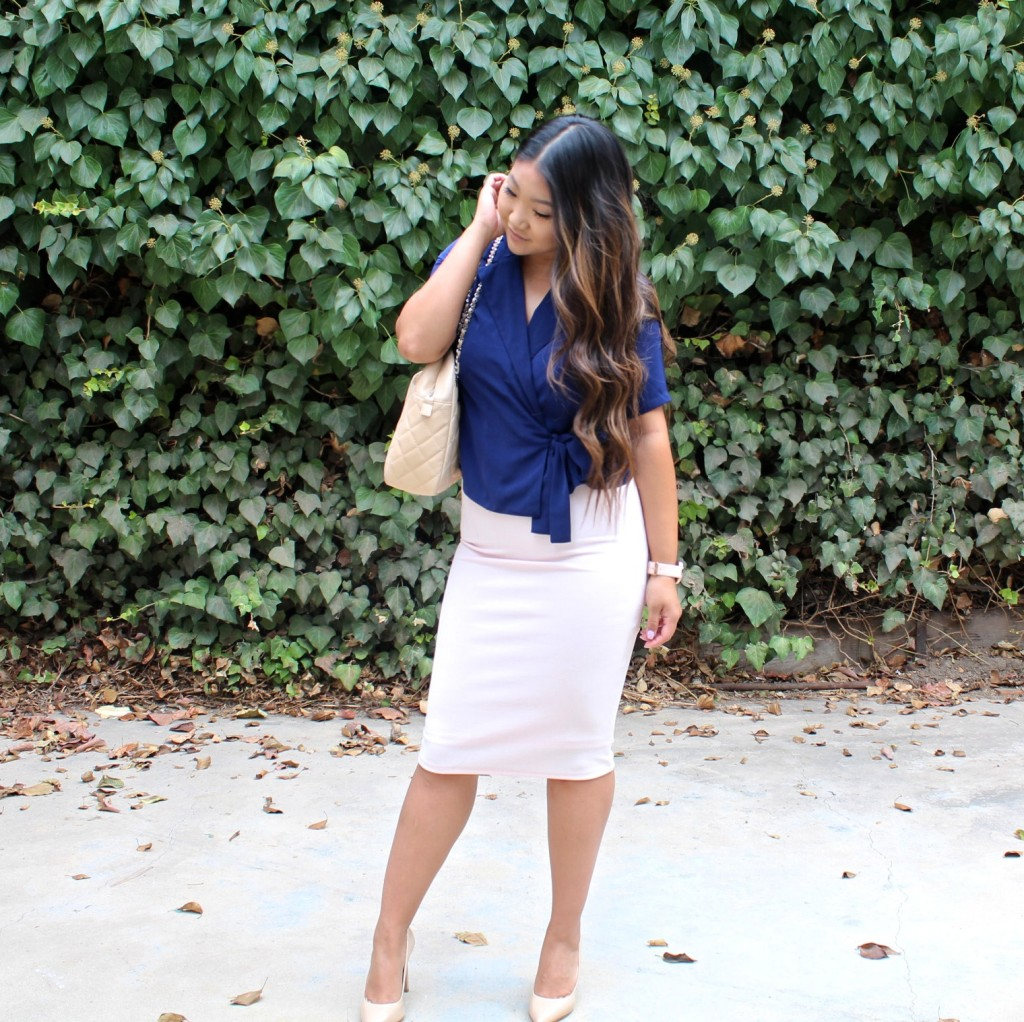 Church outfit - Blue Tie Waist Blouse