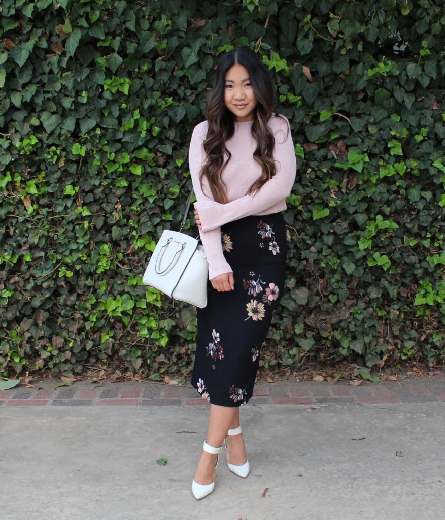 Black Floral Midi Pencil Skirt Church Outfit