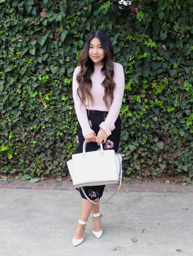 Sunday Best - Black Floral Midi Pencil Skirt