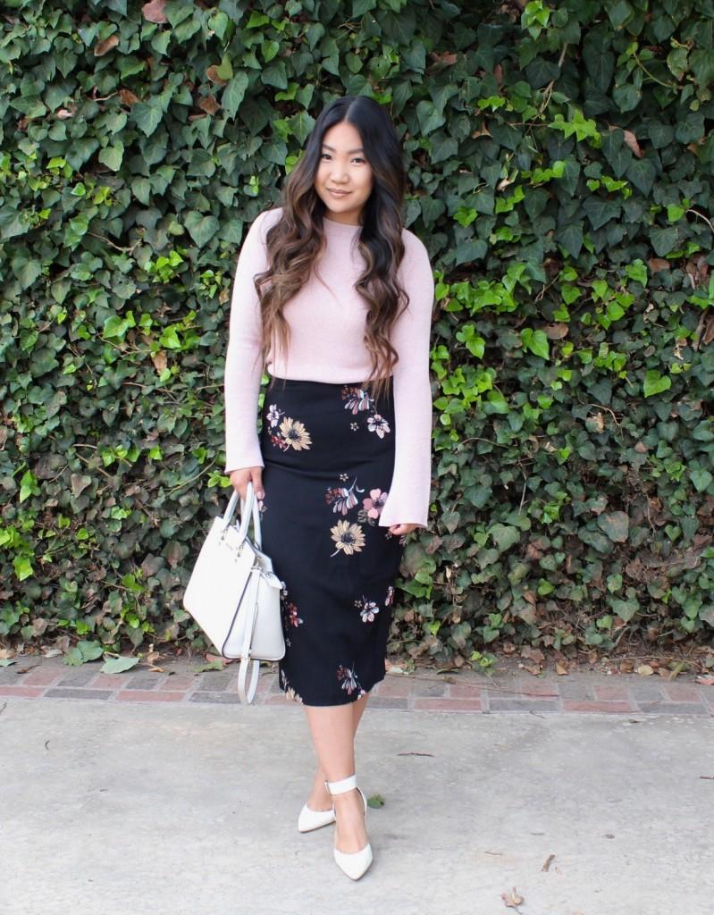 Tia Wong Black Floral Midi Pencil Skirt