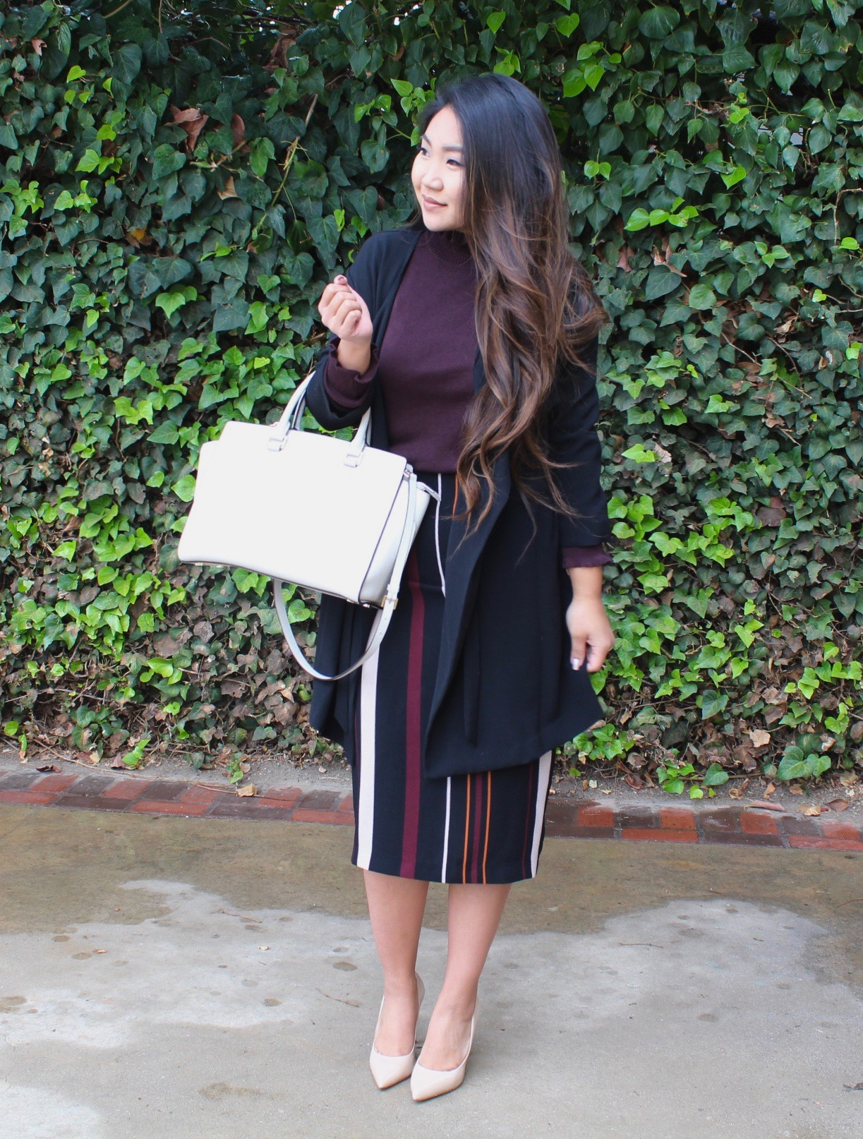 Modest church Outfit - Who What Wear Midi Stripe Pencil Skirt