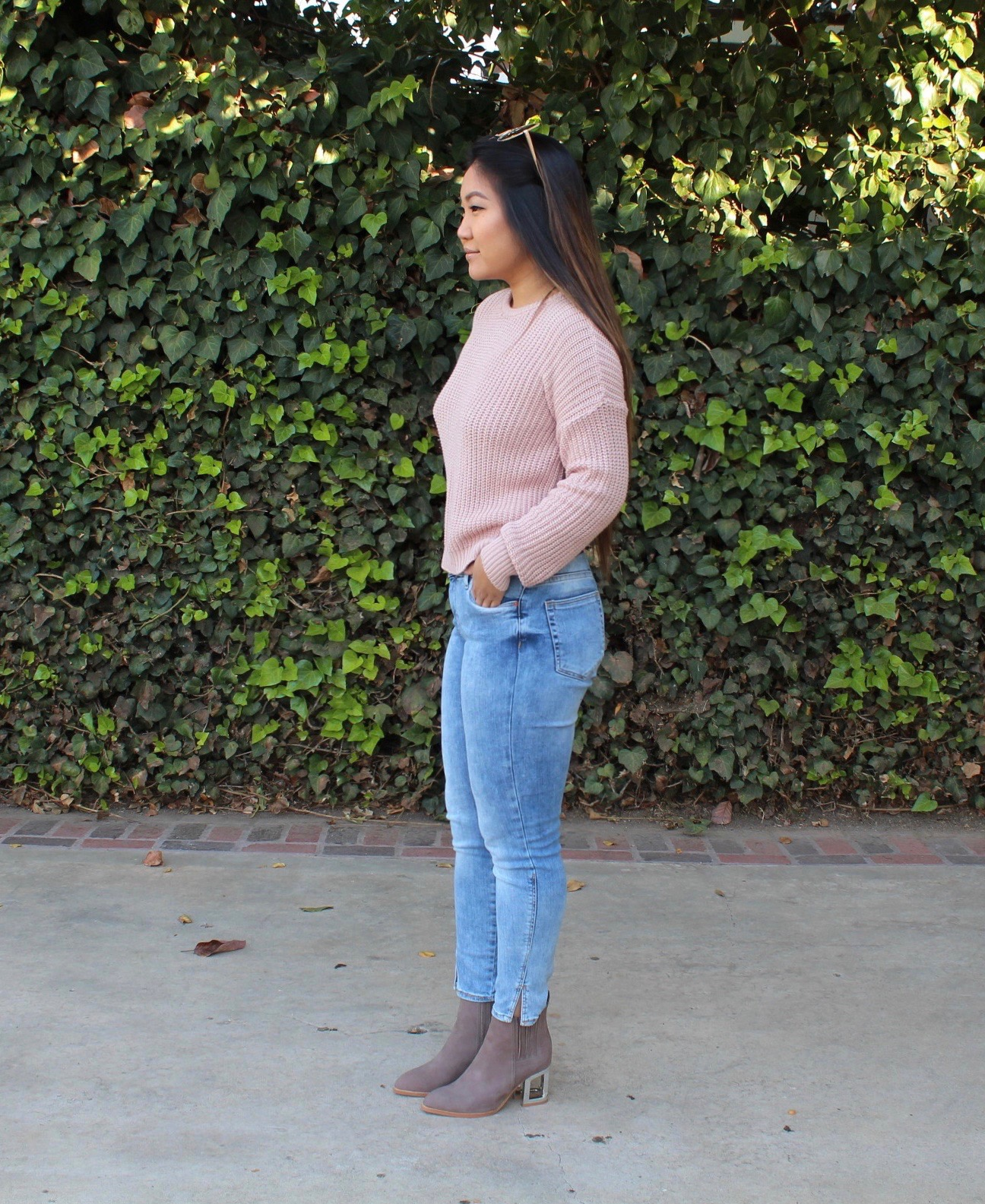 Pink Knit Pullover Sweater