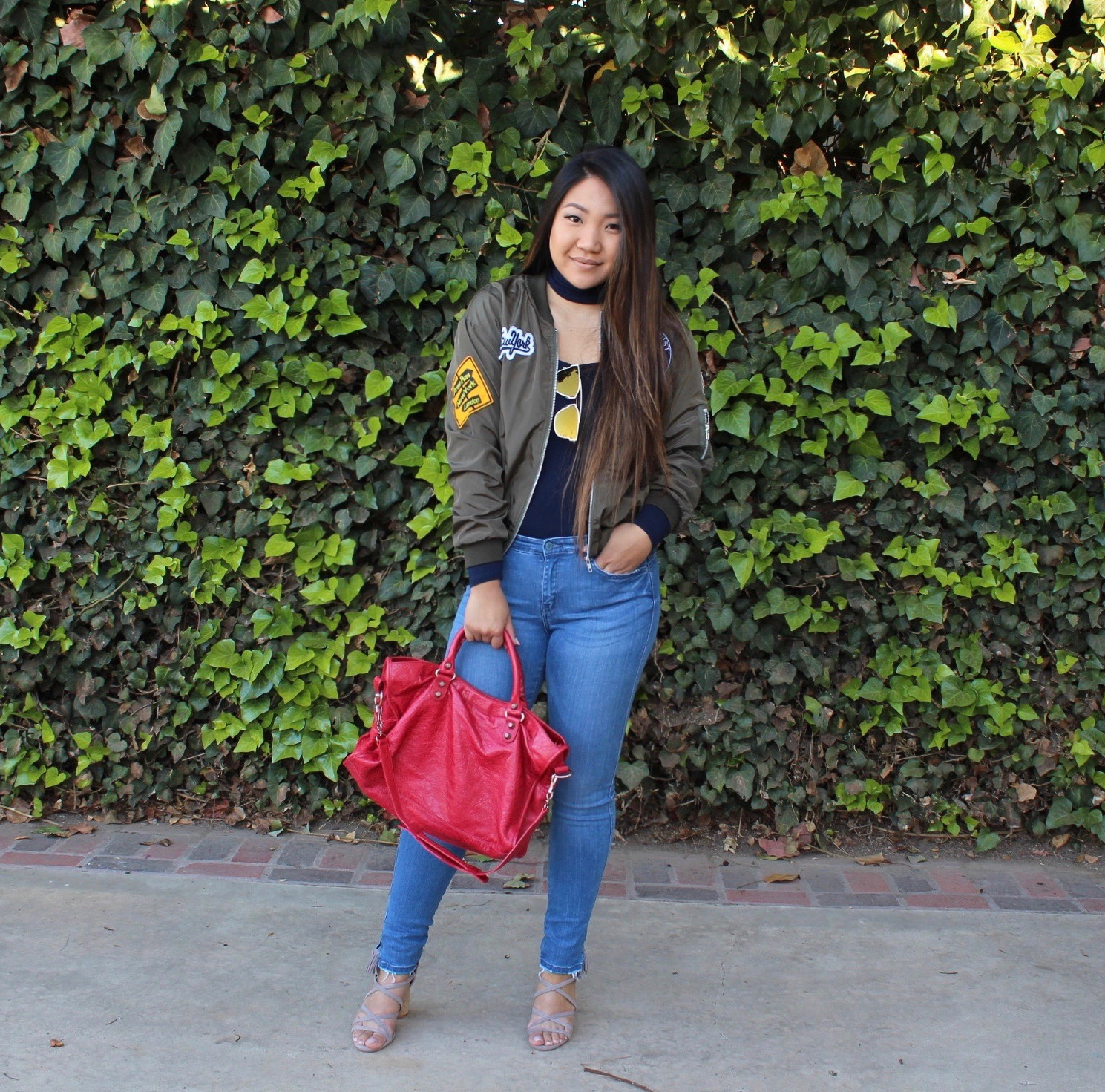 Tia Alese Wong - Army Green Embroidered Patches Zip Up Bomber Jacket