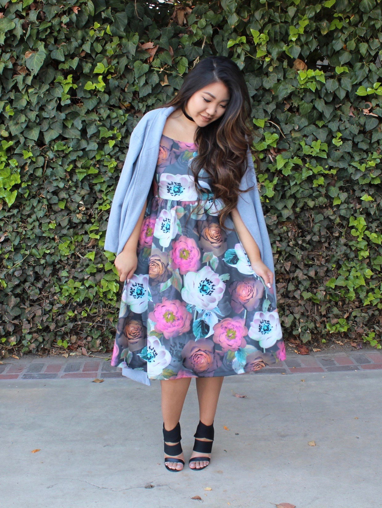 tia-wong-church-outfit - ASOS Floral Midi Dress