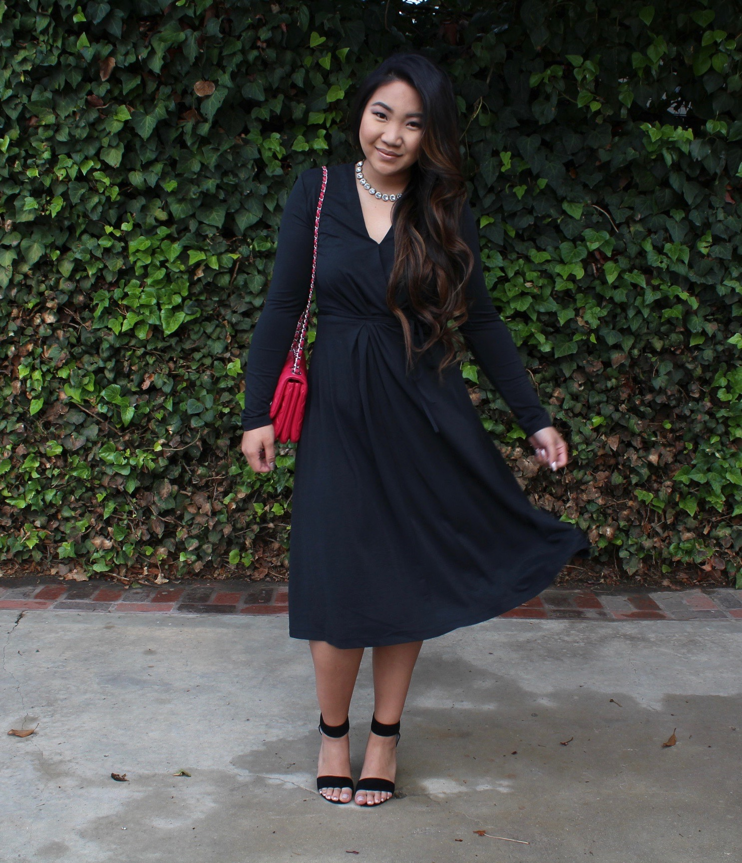 Who What Wear - The Perfect Black Long Sleeve Wrap Dress