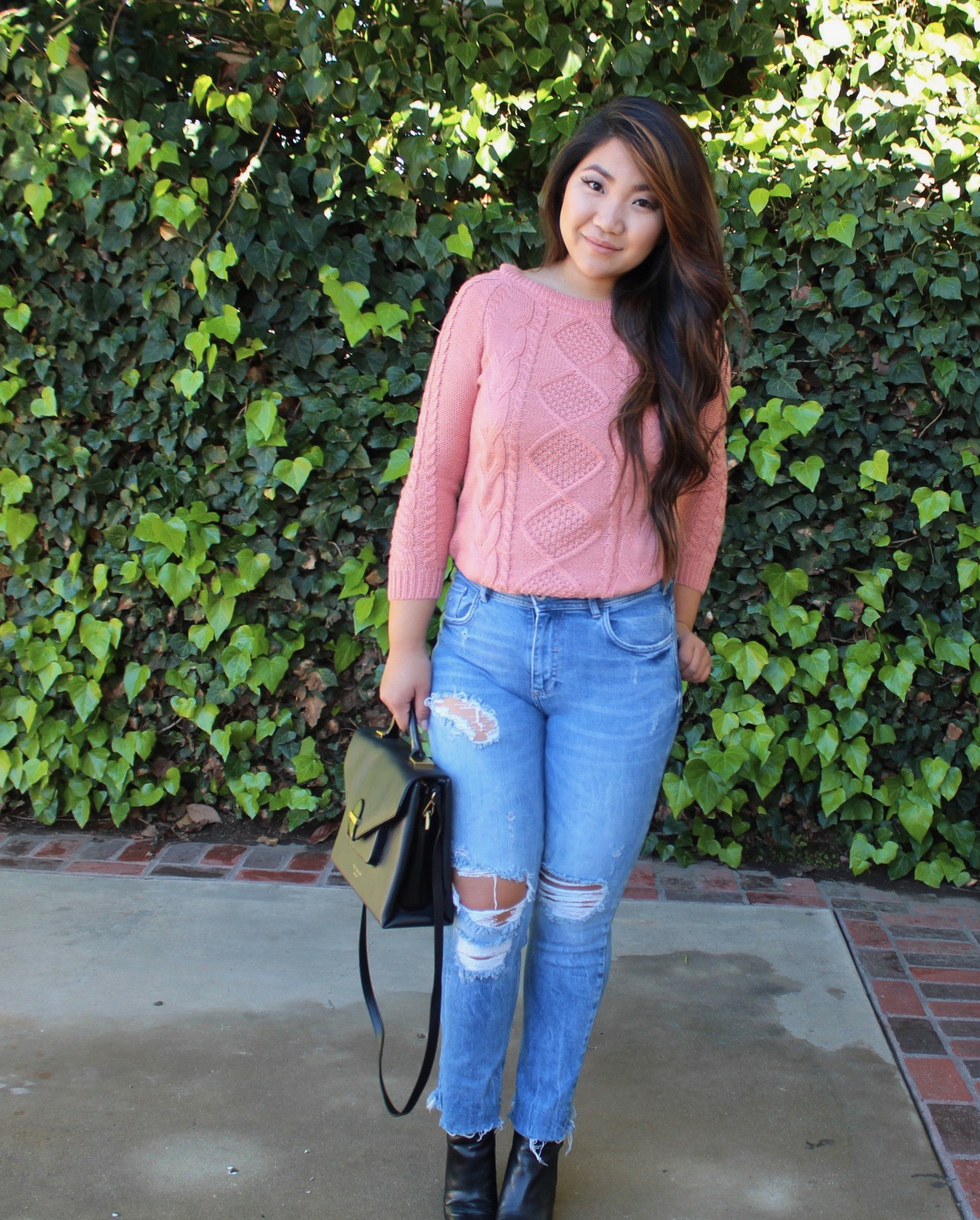 Pink Cable Knit Loose Sweater