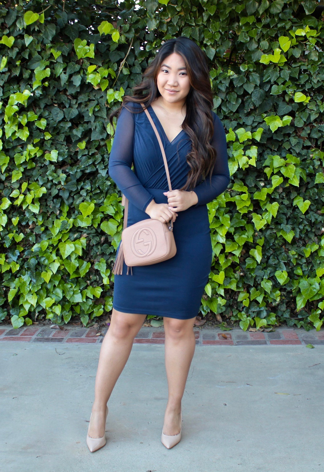 Navy Blue Sheer Long Sleeve Bodycon Dress