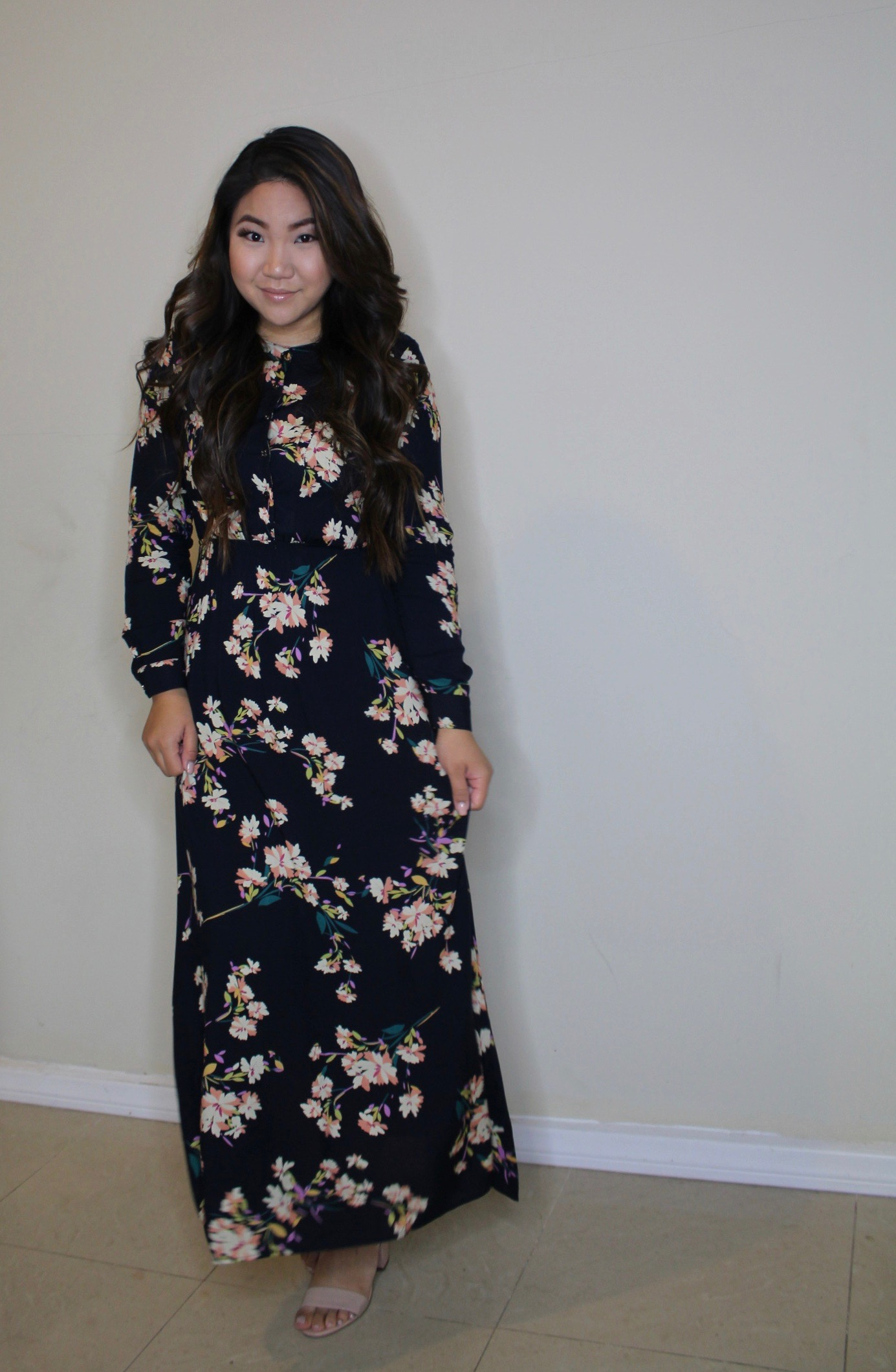Sunday Best - Navy Long Sleeve Floral Maxi Dress