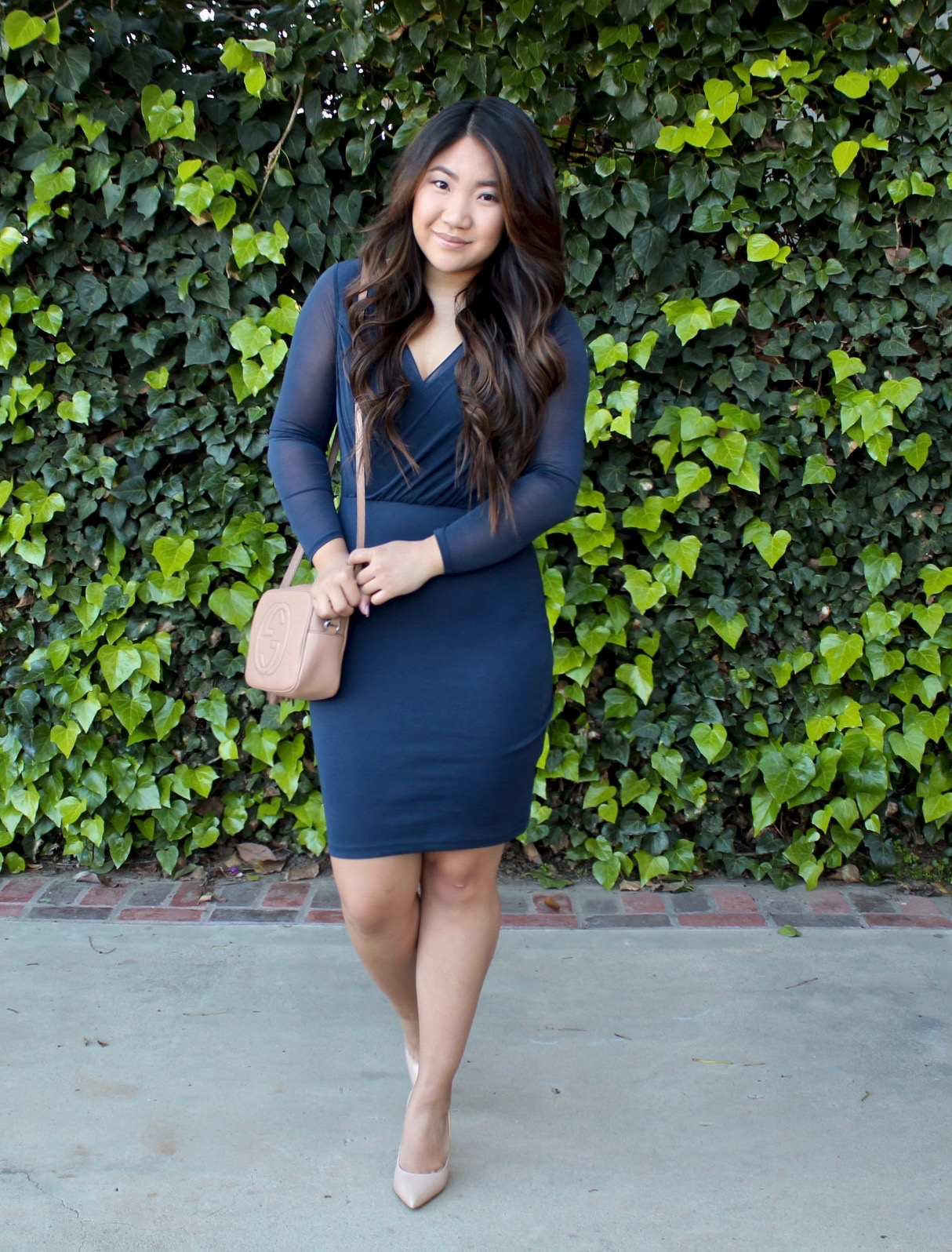 Sunday Best - Navy Blue Sheer Long Sleeve Bodycon Dress