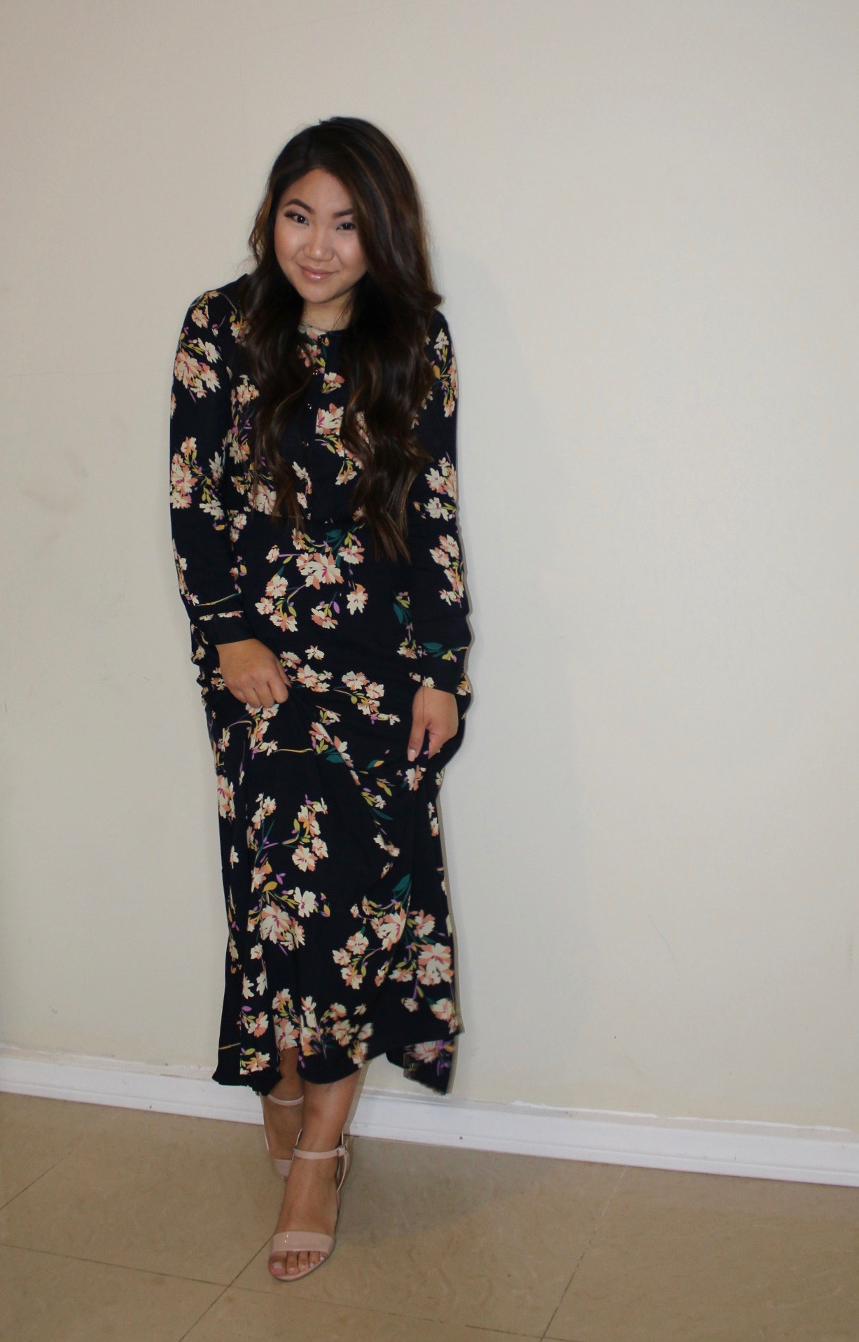 Tia Wong - Navy Long Sleeve Floral Maxi Dress